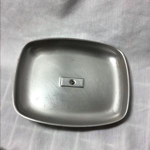 Kitchen - Vintage Stainless Steel Covered Butter Dish Wood